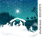 nativity scene with the holy... | Shutterstock .eps vector #335139575