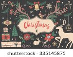 christmas hand drawn design... | Shutterstock .eps vector #335145875