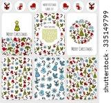 christmas doodle vector card ... | Shutterstock .eps vector #335149799