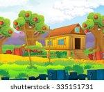 cartoon farm scene  ... | Shutterstock . vector #335151731