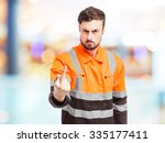 angry worker man disagree | Shutterstock . vector #335177411