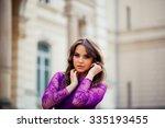 beautiful brunette young woman... | Shutterstock . vector #335193455