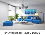 interior with blue sofa. 3d... | Shutterstock . vector #335210531