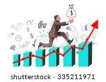 businessman running with hand... | Shutterstock . vector #335211971