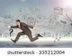 businessman running fast on... | Shutterstock . vector #335212004