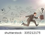 businessman running fast with... | Shutterstock . vector #335212175