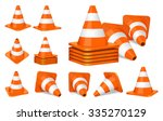 Set Of Orange Plastic Traffic...