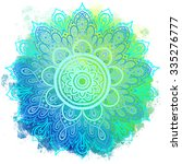 mandala over colorful... | Shutterstock .eps vector #335276777