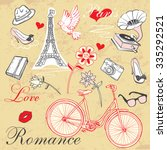 paris romance set | Shutterstock .eps vector #335292521