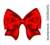 realistic red bow isolated on... | Shutterstock . vector #335301641