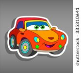 cartoon orange car sticker for... | Shutterstock .eps vector #335310641
