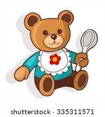 teddy bear with spoon | Shutterstock .eps vector #335311571