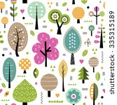 autumn trees collection pattern | Shutterstock .eps vector #335315189