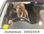 smiling businesswoman having a... | Shutterstock . vector #335321519