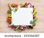healthy food background and... | Shutterstock . vector #335346587