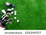 Small photo of Golf ball and golf club in bag on green grass