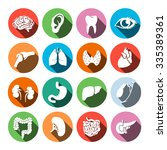 trendy flat medical icons with... | Shutterstock .eps vector #335389361