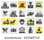 farming icons set. vector... | Shutterstock .eps vector #335389715