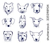Set Of Hand Drawn Dog's Heads....