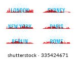 set of vector city skyline world | Shutterstock .eps vector #335424671