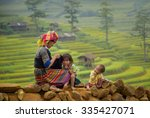 Stock photo family tribal mother and children girl smile in rice terraces 335427071