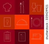 linear icons for restaurant.... | Shutterstock .eps vector #335429921