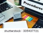 procedures  ring binder on...   Shutterstock . vector #335437721