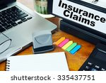 insurance claims  ring binder... | Shutterstock . vector #335437751