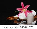 spa setting on bamboo mat   Shutterstock . vector #335441075