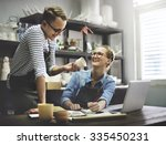 two people talking pottery room ... | Shutterstock . vector #335450231