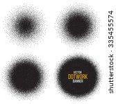dotwork circle banners. noisy... | Shutterstock .eps vector #335455574