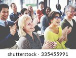 group of multiethnic cheerful... | Shutterstock . vector #335455991