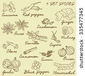 hand drawn collection of spices ... | Shutterstock .eps vector #335477345