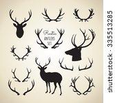 rustic antlers set  ... | Shutterstock .eps vector #335513285