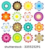 set of colorful flowers icons....   Shutterstock .eps vector #335525291