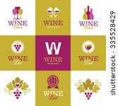 set of bright creative wine... | Shutterstock .eps vector #335528429