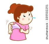 ill woman sneezing because flu... | Shutterstock .eps vector #335532251