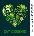 green vegetables icon set heart ... | Shutterstock .eps vector #335537201