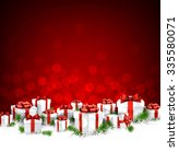 christmas red background with... | Shutterstock .eps vector #335580071