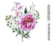 watercolor floral bouquet ... | Shutterstock . vector #335582054