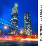night scene in madrid business... | Shutterstock . vector #335583179