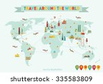 travel around the world. vector ... | Shutterstock .eps vector #335583809