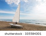 Small Sailboat On A Cart At Th...