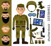 soldier in terrain uniform on... | Shutterstock .eps vector #335584811