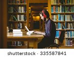 hipster student studying in... | Shutterstock . vector #335587841