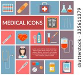 set of medical flat design... | Shutterstock .eps vector #335611379
