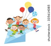paper airplane and children | Shutterstock .eps vector #335614085