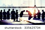 business people meeting bowing... | Shutterstock . vector #335625734