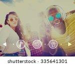 teenagers friends beach party... | Shutterstock . vector #335641301