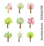 collection of trees | Shutterstock .eps vector #33566230